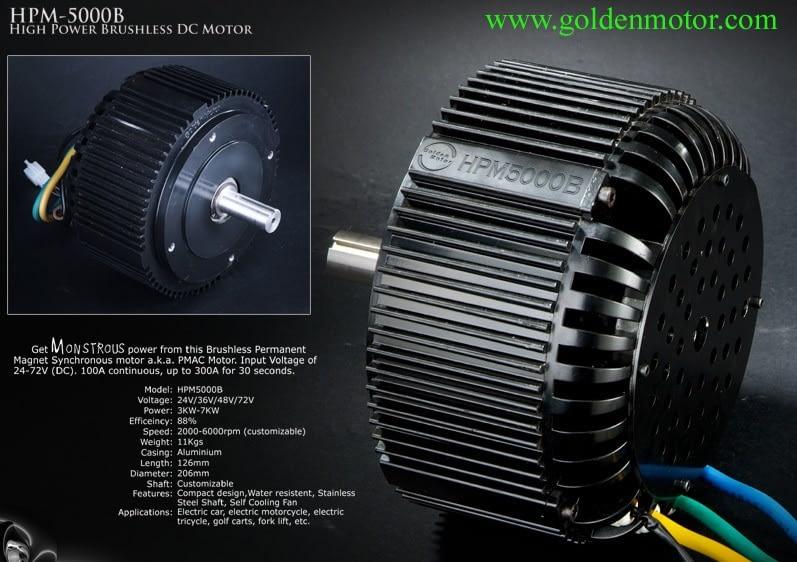 48 Volt 5KW BLDC Motor Air Cooled - Golden Motor Dc S Volt Golf Cart Controller Wiring Diagram on
