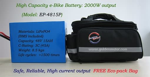 48V15AH LiFePO4 Battery in FREE Eco pack Bag