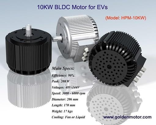 72 Volt 10KW BLDC Motor Air Cooled