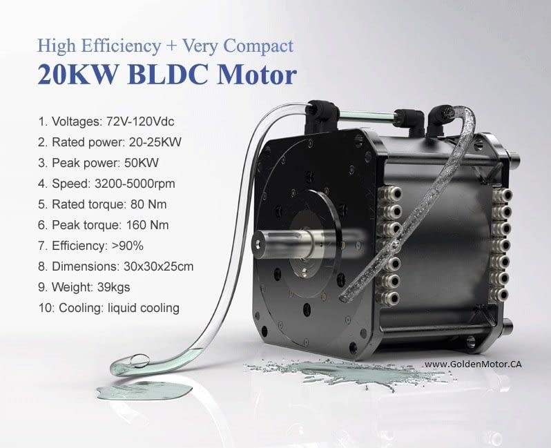 HPM 20 KW Liquid Cooled BLDC Motor | Golden Motor